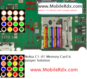 Nokia C1 01 Mamory card ic jumper solution 300x273