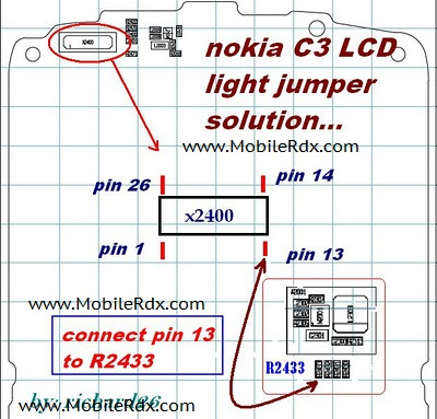 nokia c3 lcd display light jumper solution