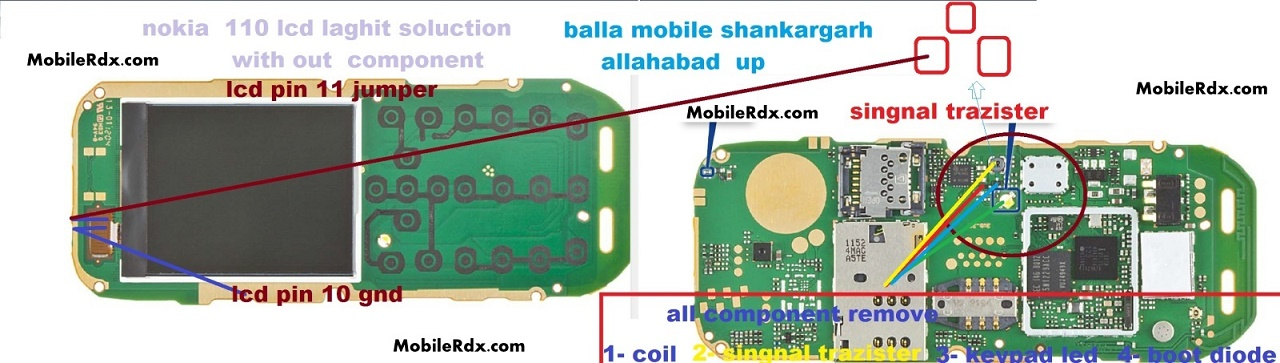 Nokia 110 Display Lcd Light JUmper Ways