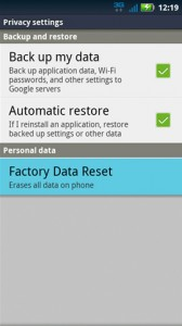 privacy settings factory data reset 168x300 - Motorola Droid 2 A955 Hard Reset Solution