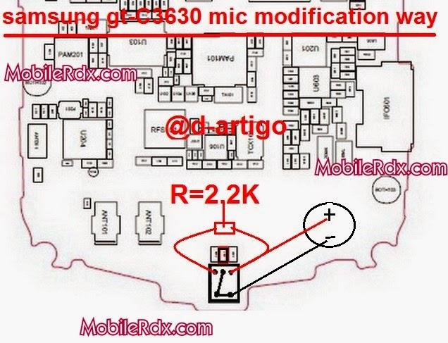 Samsung GT C3630 Mic Jumper Ways Modification - Samsung GT-C3630 Mic Modification Solution