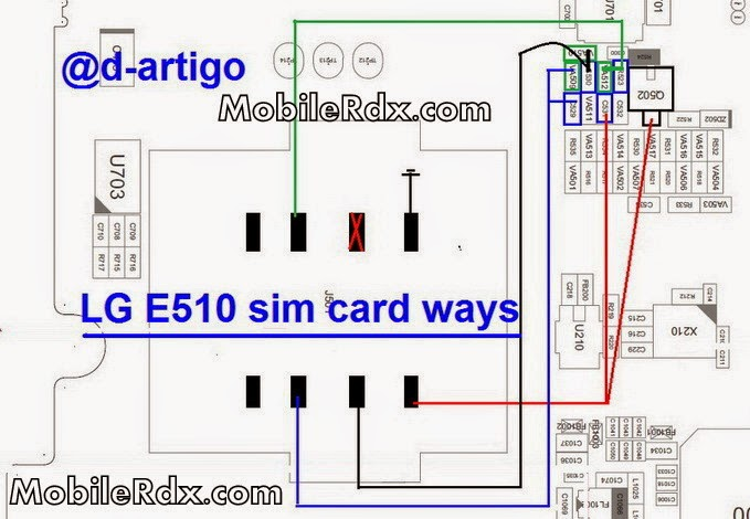LG E510 sim card ways connecter jumper