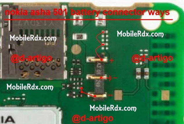 nokia 501 battery connecter bsi line ways