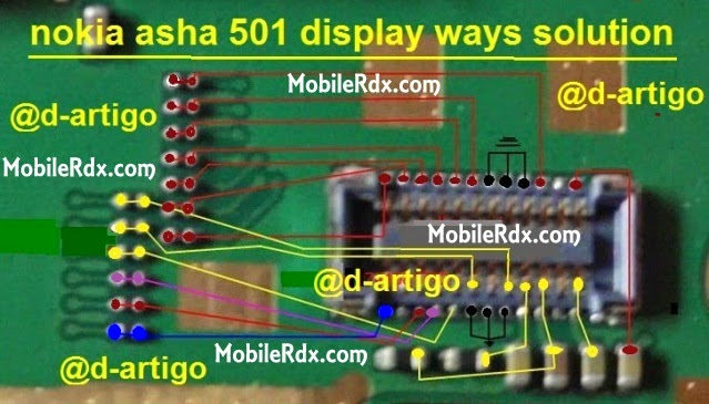 nokia 501 display conecter ways jumper solution - Asha 501 Full Display Lcd Track Ways Solution