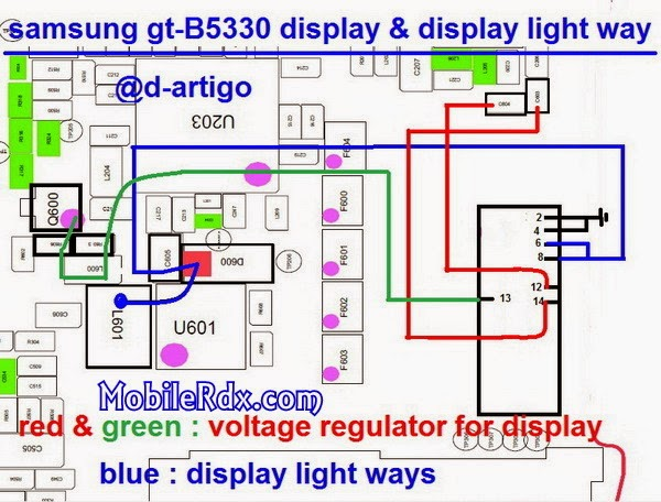 samsung gt B5330 display and lcd light jumper