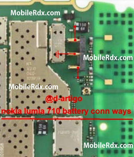nokia lumia 710 battery connecter ways bsi line jumper