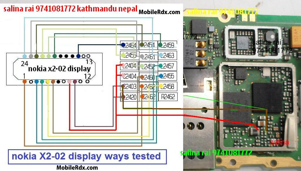 nokia x2 02 display full track ways - Nokia X2-02 LCD Display Connection Line Jumper Ways Solution