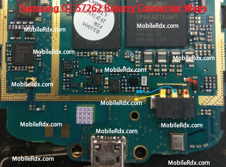Samsung GT-S7262 Battery Connecter Ways Jumper Point Solution
