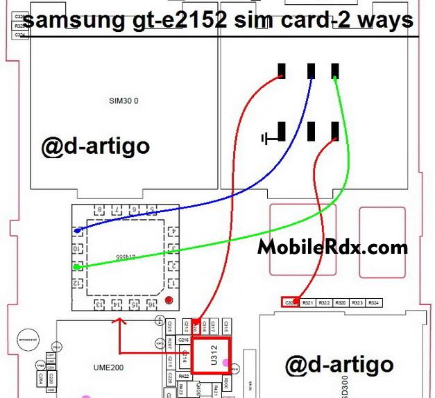 samsung gt e2152 sim card 2 ways solution