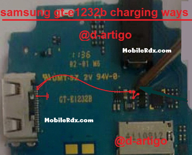 samsung gt e1232b charging ways solution