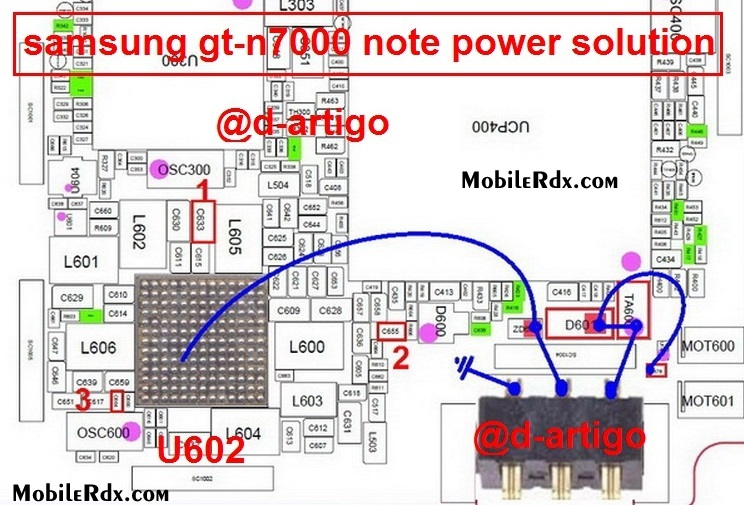 Samsung Gt-N7000 Power Solution Battery Connecter Ways