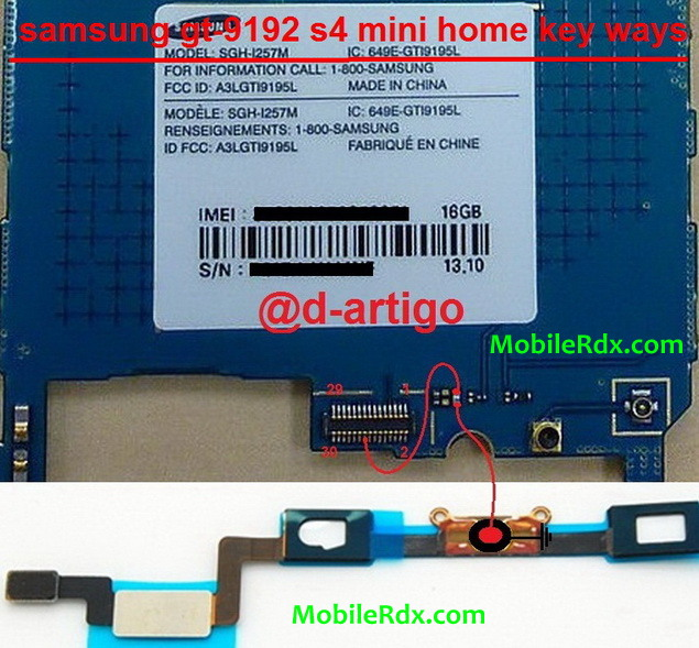 Samsung Galaxy S4 Mini I9192 Home Key Buton Jumper Solution