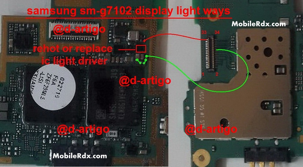 Samsung Grand 2 SM-G7102 Display Light Ways Solution Jumper