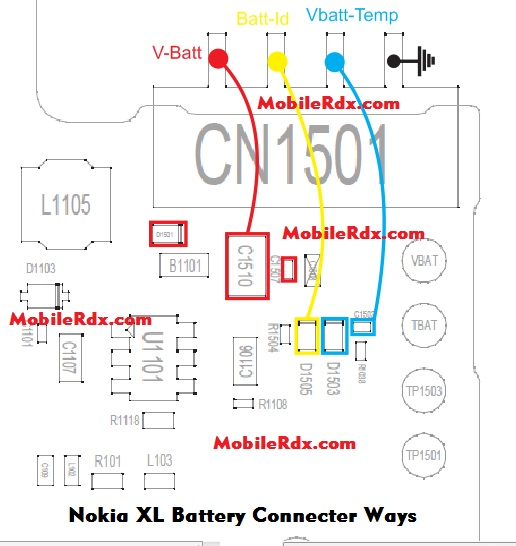 Nokia XL Battery Connecter Ways Point Jumper - Nokia XL Battery Connector Ways Repair Power Problem