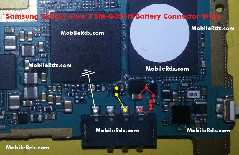 Samsung Galaxy Core 2 SM G355H Battery Connector Ways Problem Jumper