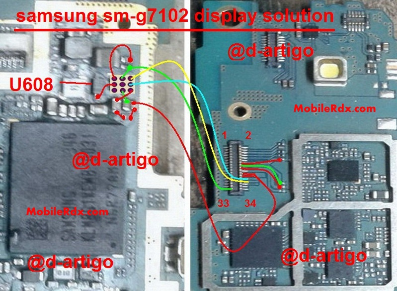 Samsung Galaxy Grand 2 SM-G7102 Display Problem Solution Repair Jumper Ways