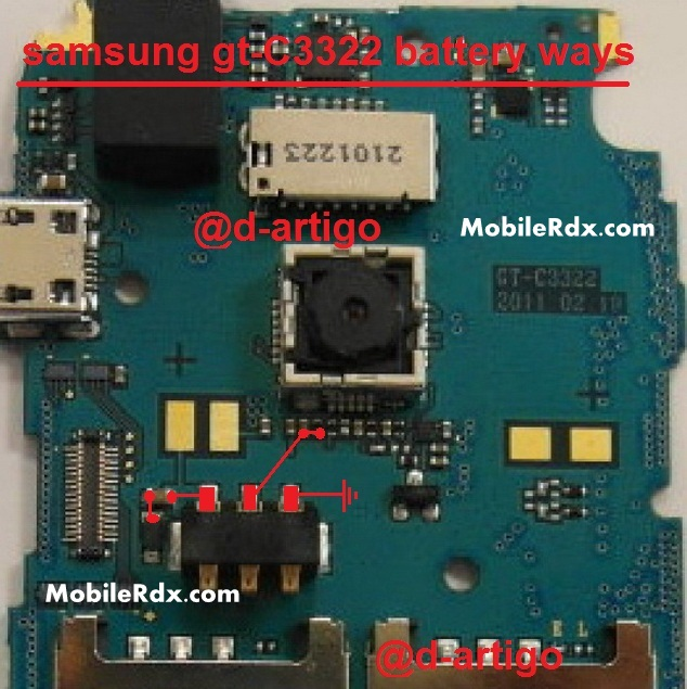 Samsung Metro DUOS C3322 Battery Connector Point Ways Solution
