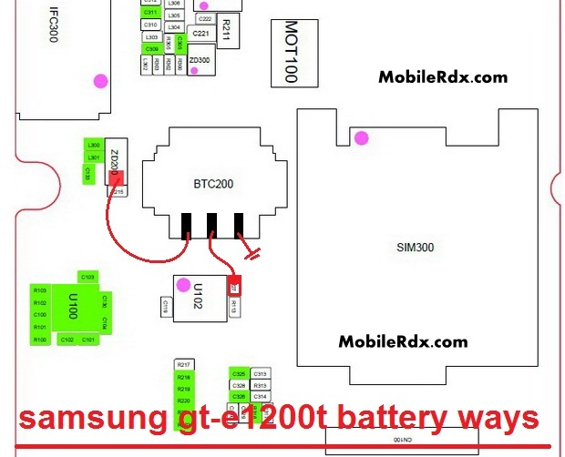 Samsung GT-E1200T Battery Connector Ways Jumper
