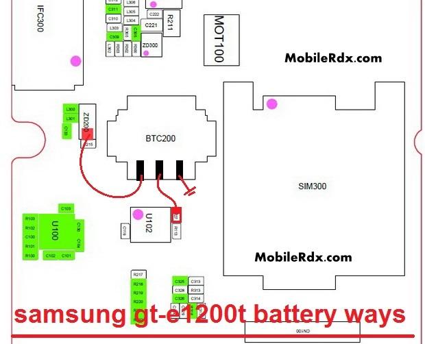 Samsung GT-E1200T Battery Connector Ways Jumper