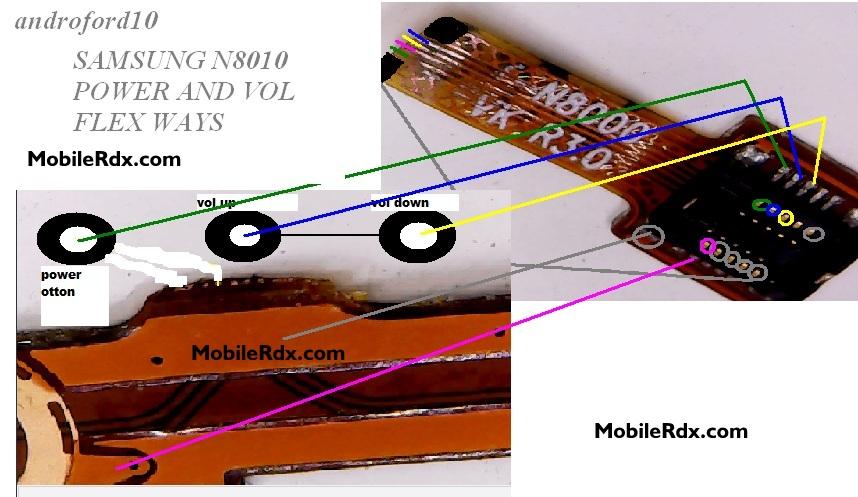 Samsung Galaxy Note N8010 Power Button Ways Volume Key Jumper Solution - Samsung Note N8010 Power Ways Volume Button Jumper