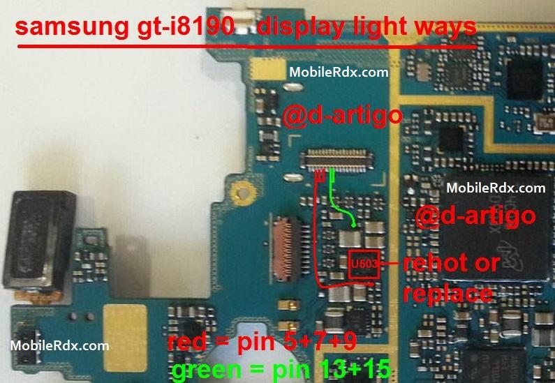 Samsung GT I8190 Display Light Ways Problem Lcd Jumper