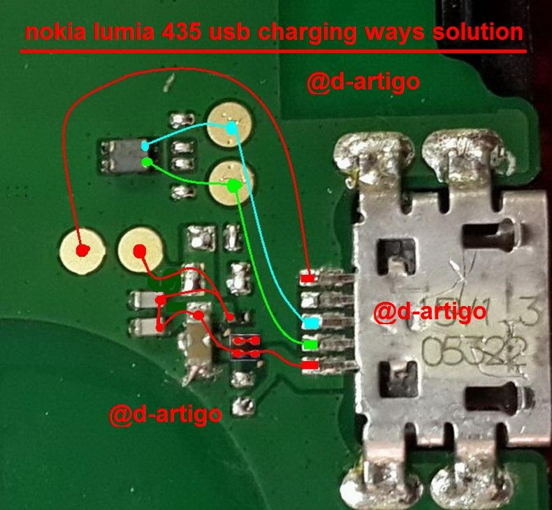 Microsoft Lumia 435 RM 1070 Charging Problem Solution Ways Jumper - Microsoft Lumia 435 RM-1070 Charging Problem Solution