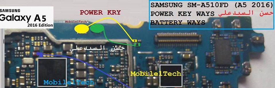 Samsung Galaxy A5 SM A510 Power On Off Key Ways Jumper