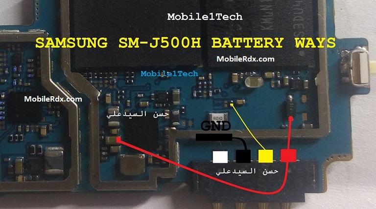 Samsung Galaxy SM-J500H Battery Pin Jumper Point Ways