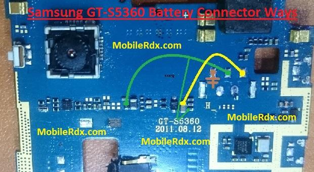 Samsung GT S5360 Battery Connector Ways Power Problem Jumper
