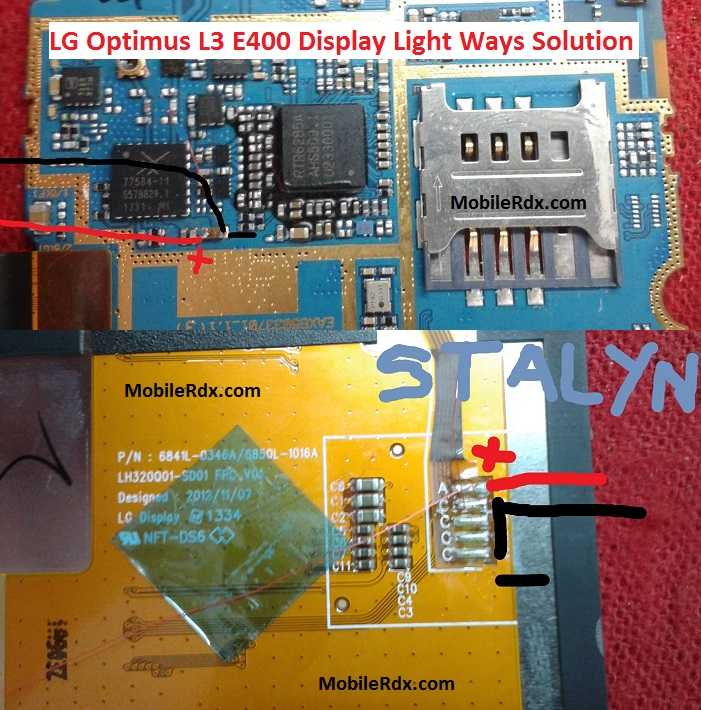 lg optimus l3 e400 display light ways lcd jumper solution