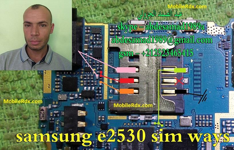 Repair Samsung GT E2530 Insert Sim Card Problem Sim Ways