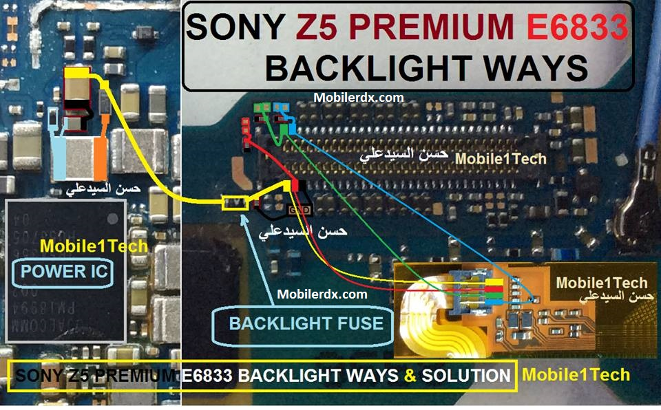 Sony Xperia Z5 Premium Display Light Ways Solution Backlight Jumper