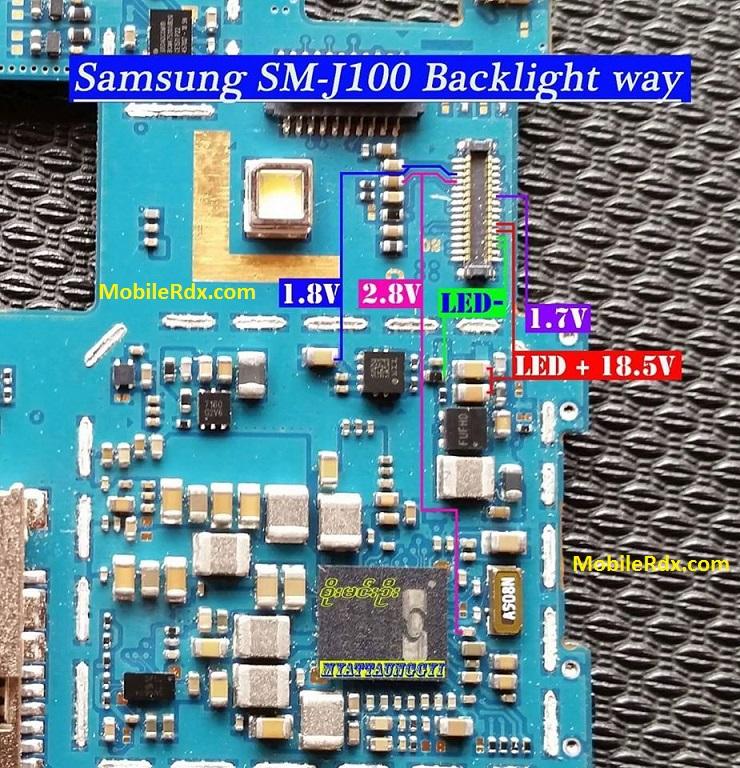 Samsung Galaxy J1 SM J100 Backlight Ways Display Light Jumper