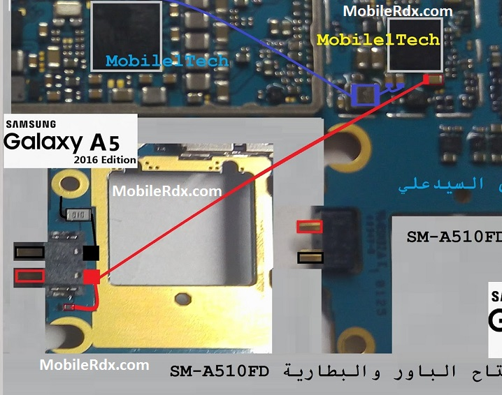 Samsung A510F Battery Connector Ways Battery Point Jumper