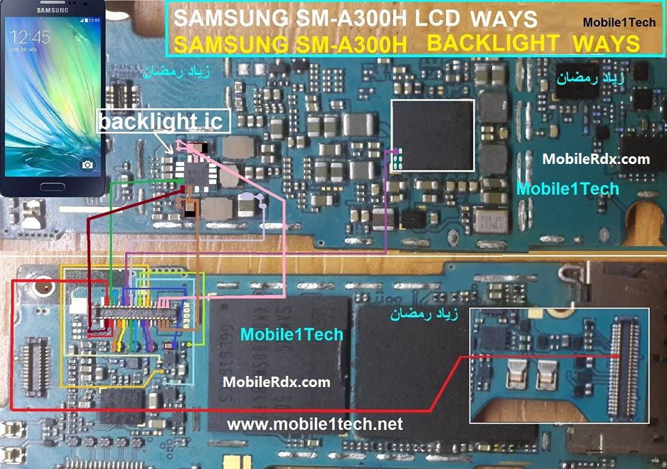 Samsung Galaxy A3 A300H Display Light Ways Backlight Jumper