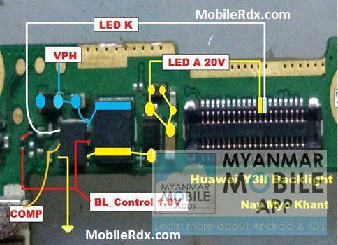 Huawei Y3II Backlight Ways Display Jumpers Solution