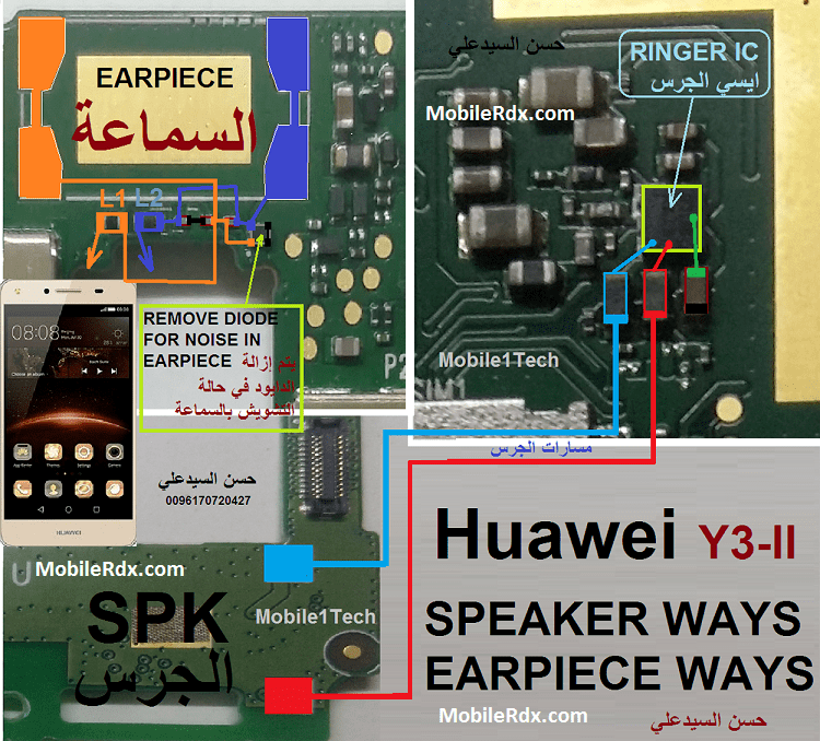 Huawei Y3II Speaker Ways Earpiece Jumper Solution