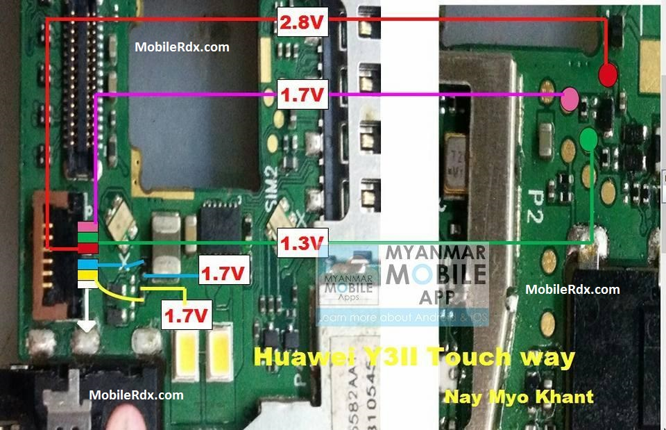 Huawei Y3II Touch Ways Solution Touch Screen Jumper