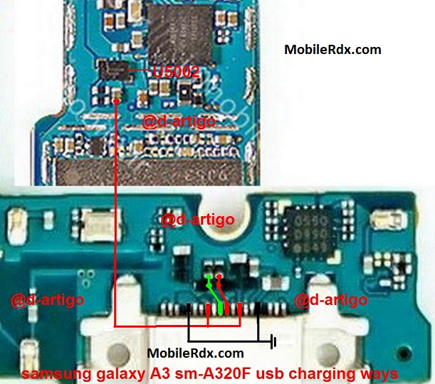 Samsung Galaxy A3 A320F Charging Ways Solution USB Jumper