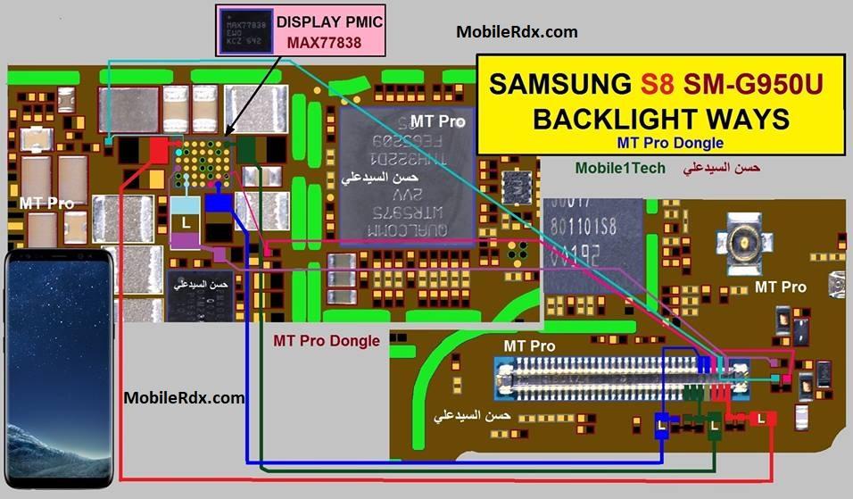 Samsung Galaxy S8 G950U Backlight Ways Display Problem Solution