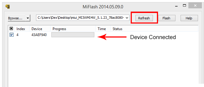 Device connected to Xiaomi Mi Flash Tool