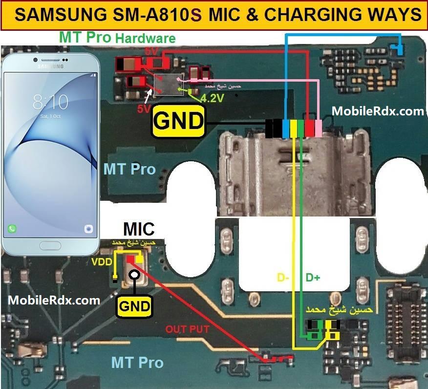 Samsung Galaxy A8 A810S Charging Jumper Solution USB Ways