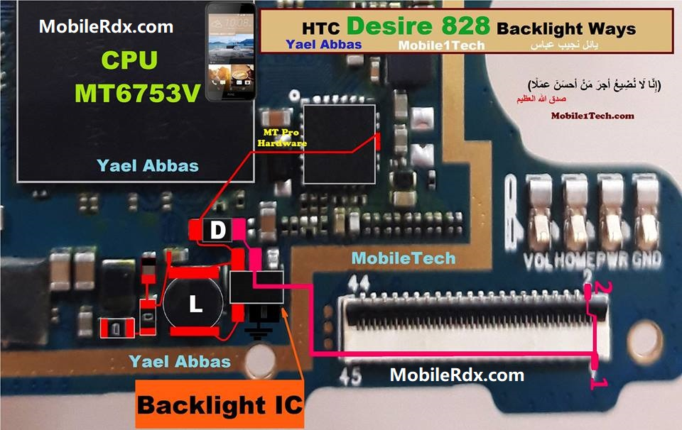 HTC Desire 828 Display Light Solution Backlight Ways