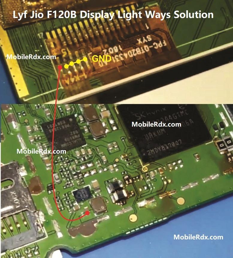 Lyf Jio F120B Display Light Problem Ways Solution Backlight Jumper