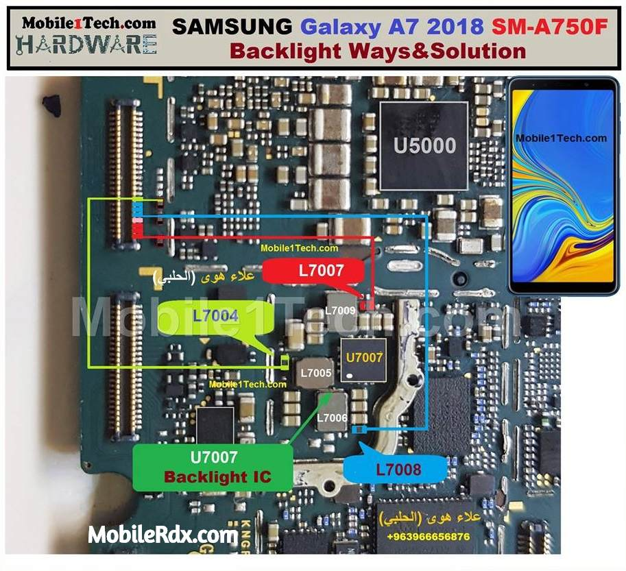 Samsung Galaxy A7 A750F Backlight Ways Display Jumper Solution