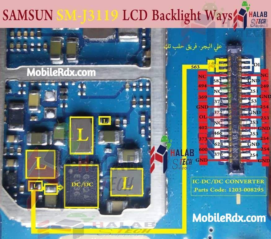 Samsung Galaxy J3 Pro J3119 Display Light Ways Solution LCD Light Jumper