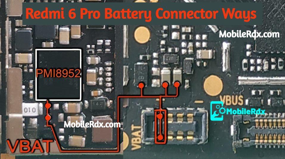 Redmi 6 Pro Battery Connector Ways VBAT Jumper