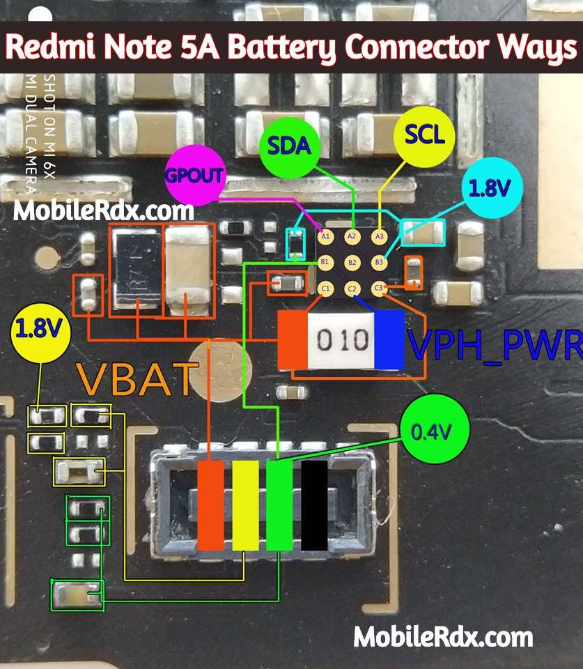 Redmi Note 5A Battery Connector Ways Power Problem Solution