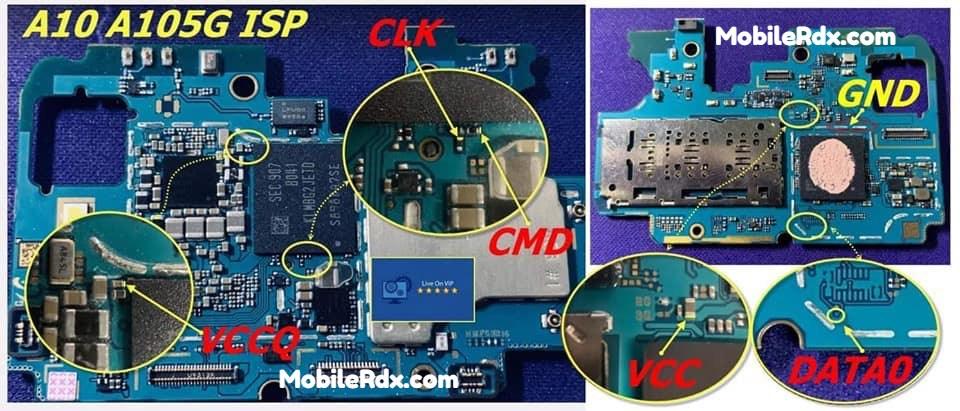 Samsung Galaxy A10 A105G ISP Pinout – Dead Boot Repair FRP Remove