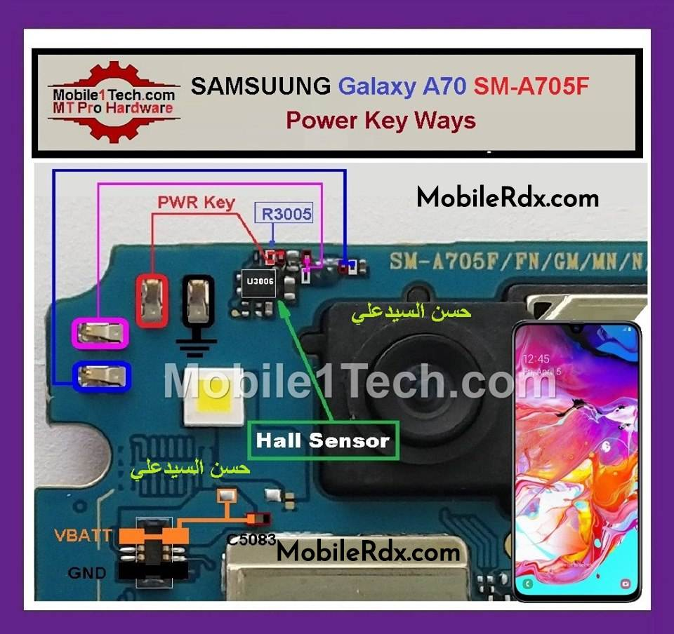 Samsung Galaxy A70 A705F Power Button Ways On Off Key Jumper